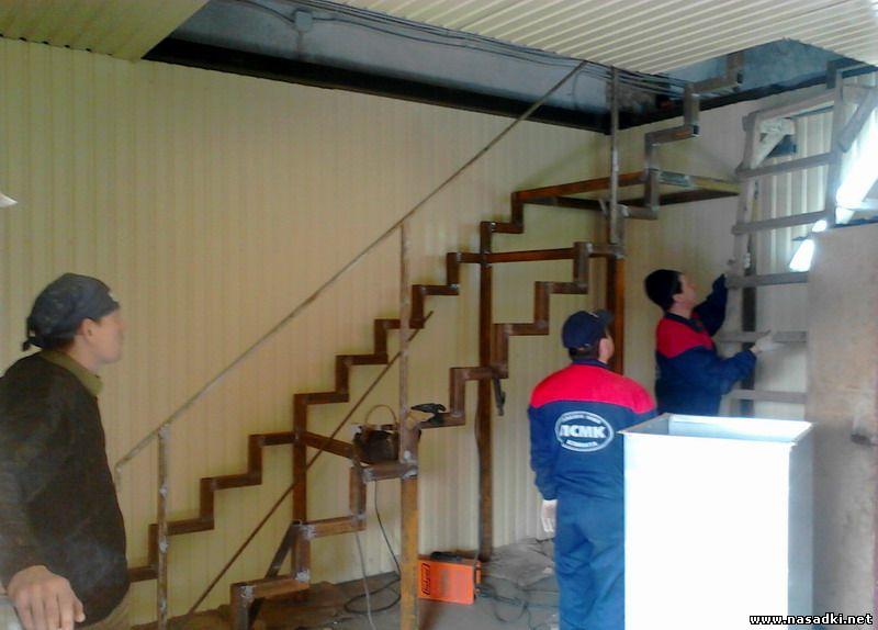 Лестница на второй этаж в цеху по разведению опарыша